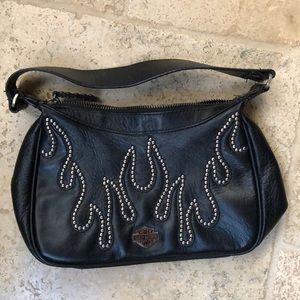 Harley Davidson leather purse with flames